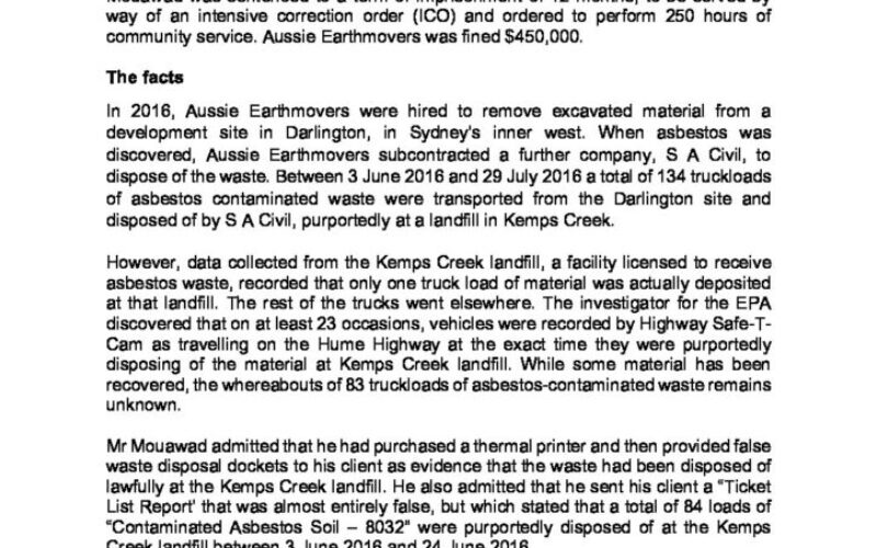 Intensive correction order made by NSW Land and Environment Court for waste offence